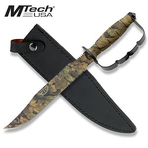 "15"" Overall Length Mtech Camo Fixed Blade Knuckle Handle Knife"