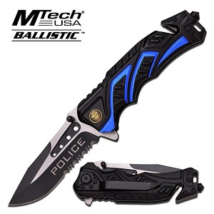 Mtech USA Ballistic Rescue Spring Assisted Tactical Knife - Police Black Blue