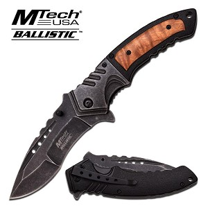 Mtech Ballistic 5 Inch Spring Action Assisted Opening Knife - Shadow Wood