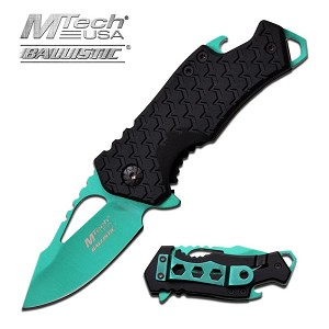 Mtech USA Ballistic 3 Inch Spring Assisted Folder Knife with Bottle Opener - Green