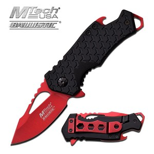 Mtech USA Ballistic 3 Inch Spring Assisted Folder Knife with Bottle Opener - Red