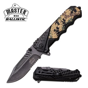 Master USA Ballistic Action Assisted Opening Spring Knife Black Digital Camo