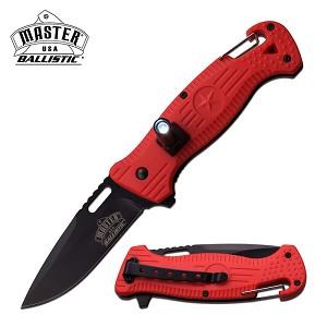 Master USA Ballistic LED Flash Light Spring Assisted Knife Red Star