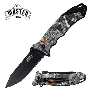 Outdoor Camo 8.5 Inch Overall Spring Assisted Folding Pocket Knife