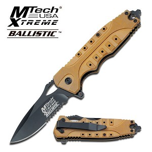 Mtech Xtreme Ballistic Spring Assisted Knife - Orange G10 Tactical Handle