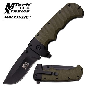 Mtech USA Xtreme Ballistic Spring Assisted Knife - Green Green