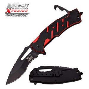 MTech USA Xtreme Ballistic Spring Assisted Tactical Knife Black and Red