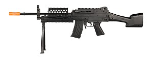 P1046 LMG Airsoft Rifle Gun with BIPOD + LED FLASHLIGHT + LASER