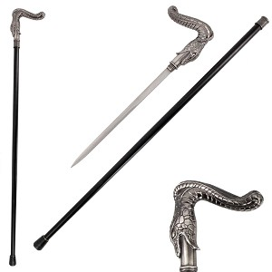 36.5 Inches Silver Burst Snake Head Cane Sword