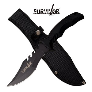 11 Inch Survival Fixed Blade Bowie Knife with Saw Back Blade Black
