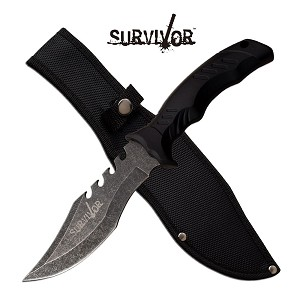11 Inch Survival Fixed Blade Bowie Knife with Saw Back Blade Stone Wash