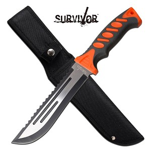 Survivor 12 Inch Outdoor Survival Fixed Blade Knife Orange Handle