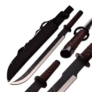 25 Inch Overall Fantasy Sword with Rough Finish Stainless Steel Blade