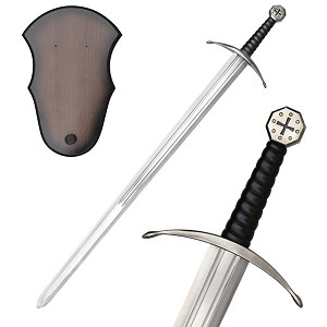 Medieval Crusaders Sword with Wall Plaque