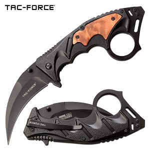 Tac Force Karambit Spring Assisted Knife Black with Wood Inlay Handle
