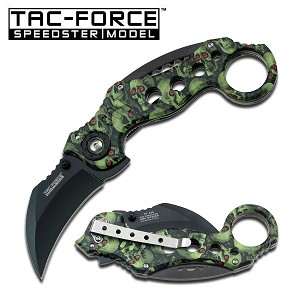 Karambit Spring Assist Folder Knife - Green Skull Camo Handle