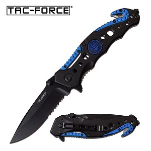 Tactical Rescue Spring Assisted Knife Blue Police Logo