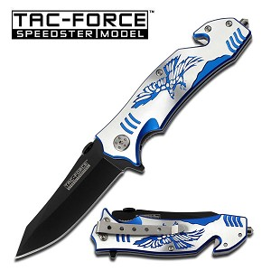 4.5 Inch Tactical Rescue Assisted Opening Folder Knife with Blue Eagle Handle