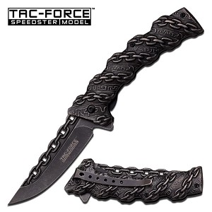 Tac Force Chain Design Fantasy Spring Action Assisted Folder Pocket Knife