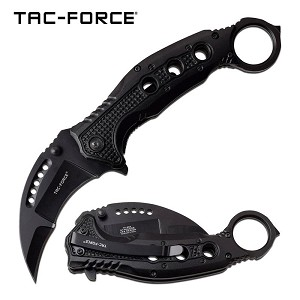Karambit Thumb Ring Spring Assisted Folding Pocket Knife Black
