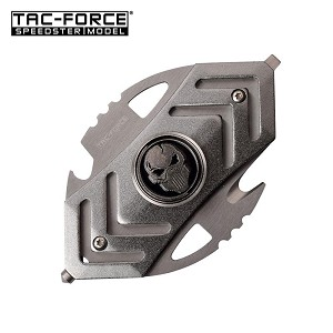 Tac Force Tactical Spiner with Bottle Opener Glass Breaker and Cutter Grey