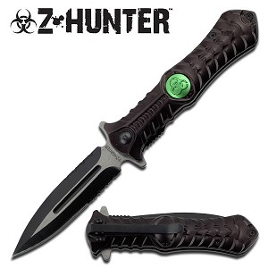 Black Zombie Hunting Combat Stiletto Style Spring Assisted Knife