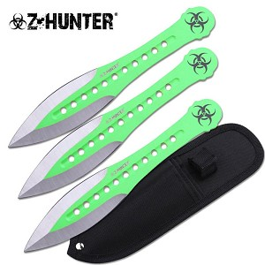 Z-Hunter 7.5 Inch 11 Holes Design 3 Piece Throwing Knife Set - Green Silver